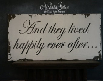 and they lived HAPPILY EVER AFTER Sign... Vintage Wedding Sign, Shabby Chic Wedding Decor