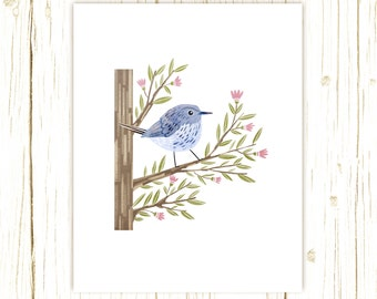 Blue-Gray Gnatcatcher Print -- bird art -- bird art 52 birds stephanie fizer coleman illustration blue bird