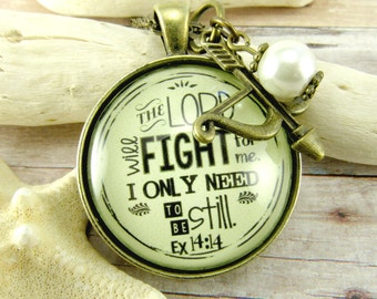 The Lord Will Fight For You Exodus 14 14 Scripture Necklace Christian Strong Woman Survivor Spoonie Jewelry Antique Style Pendant