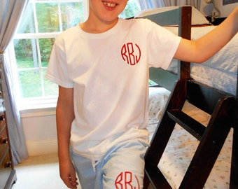 Boys Seersucker Pajama Shorts.  Cool and comfortable with elastic waist band.  Free 3 letter monogram.  Your choice of thread color.