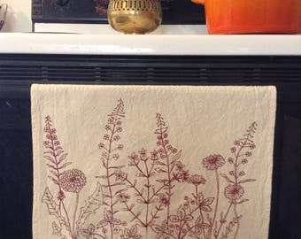 Rosebud walk wildflowers screen printed cotton tea towel