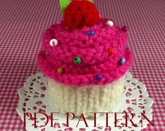 KNITTING PATTERN CUPCAKE Amigurumi Vanilla Strawberry knit crochet food pattern Ornament Toy Amigurumi Pincushion Pattern Instant Download