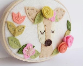 Nursery Wall Art. Felt Embroidery Hoop Art. Woodland Animal.  Boho Deer with Flower Crown. Floral Nursery Sign. Felt Flower Wreath with Doe