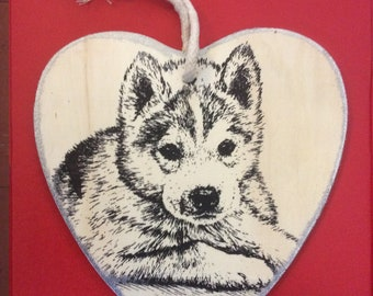 Wooden Hanging Heart with Hand Screen Printed Puppy Design.