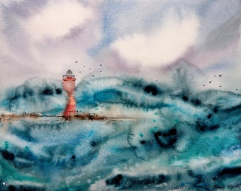 Ocean painting Lighthouse art Abstract Seascape Watercolor Painting lighthouse decor