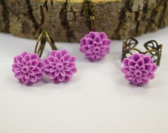 Set jewelry purple