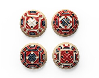 Ceramic Cabochons Set Multicolor Mandala 4 pieces