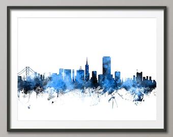 San Francisco Skyline, San Francisco California Cityscape Art Print (1116)