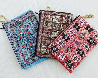 3 fabric pouch, cute pouch, cool pouch, cotton pouch, moroccan pouch, vegan pouch, zipper pouch women, coin purse, coin pouch, change pouch