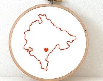 MONTENEGRO map modern cross stitch pattern. Montenegro with heart for Podgorica. Balkan map. Gift eastern europeanfriend. Balkans