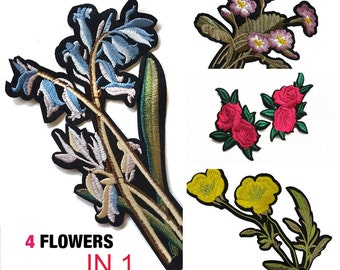 4 PCS Iron On Embroidered Flowers Roses Patches Appliques