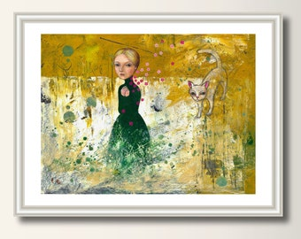 Flowers whisper - Picture,art print, print of original acrylic painting , A4 (297 x 210mm), (11.7 x 8.3 in)