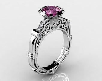 Art Masters Caravaggio 14K White Gold 1.0 Ct Pink Sapphire Diamond Engagement Ring R623-14KWGDPS