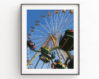 Ferris Wheel Print, Carnival Wall Print, Ferris Wheel Art, Carnival Art, Carnival Wall Decor, Instant Download, Blue Wall Art, Wall Pictures