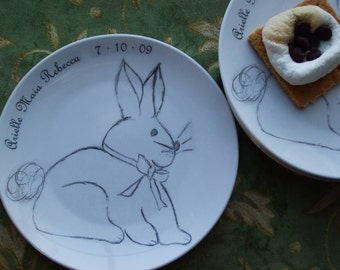 Bunny, dishe rabbit, personalized baby gift, new baby, plate baby shower, Plates (set of 4)