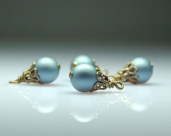 Vintage Style Bead Dangles Blue Glass Set of Four BL420