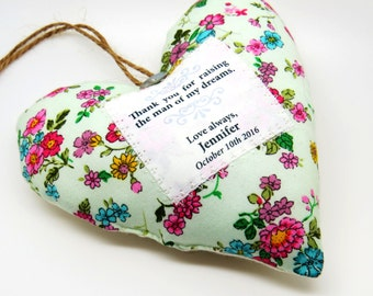 Mother of the Groom Wedding Thank You Gift - Personalised Scented Heart Decoration - Choice of fabrics - Gift Boxed