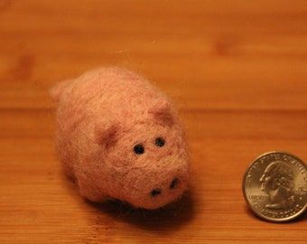 Needle Felted Pink Pig