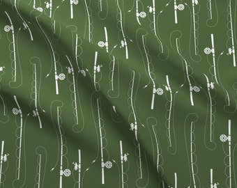 Fishing Poles Fabric - Fishing Poles On Timber Green By Buckwoodsdesignco - Fishing Pole Woodland Cotton Fabric By The Yard With Spoonflower