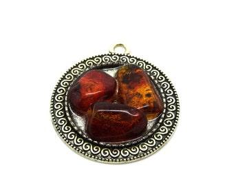 seam natural amber pendant brute cognac color