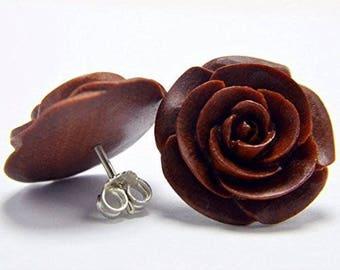 Rose Earrings with .925 Sterling Silver Stud Loop Posts - Large