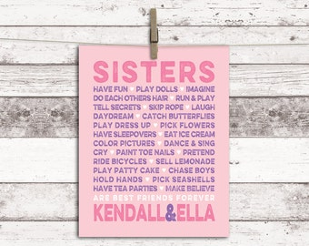 Twin girls nursery art - sisters wall art - sisters room decor - girls playroom art - subway print or canvas - pink and purple - sister gift