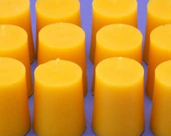 Organic Candles, 12 Beeswax Candle Votives, Bees Wax Votives, Sweetly Scented Beeswax, Pure Bees Wax Candles, Home Decor Candles