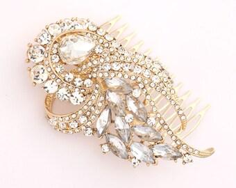 Gold Bridal Comb, Art Deco Wedding Accessory, Bridal Hair Pin, Rhinestone Gold Hair Comb, Vintage Wedding Hair Comb