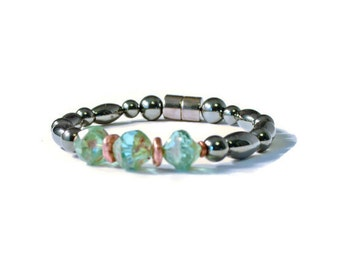 Black Magnetic Hematite Therapy Bracelet w/ Aqua Czech Glass, Pain Relief Jewelry