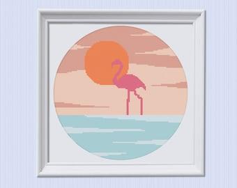 Modern Cross Stitch Pattern, Flamingo Pattern, Hoop Art Pattern, Beginner Embroidery, Diy Hoop Art, Nautical Xstitch, Simple, Colorful