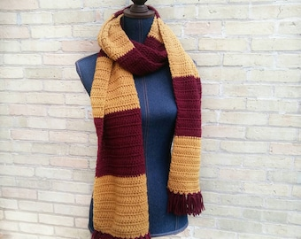 Color block scarf, wizard scarf, team scarf, fringe scarf, wide scarf, burgundy and gold scarf, striped scarf, cosplay, wizard costume