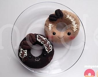 coffee addict donut plush keychain, latte or mocha (kawaii plush felt food doughnut keychain)