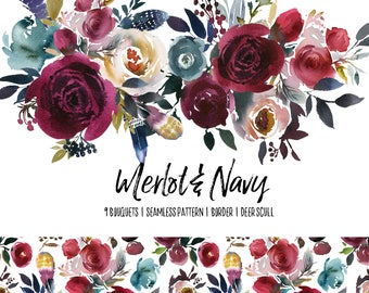 Boho Bordo & Navy Watercolor Floral Clipart Burgundy Red Flowers Deer Scull Horns Antlers Wedding Clipart PNG Wine Color Indigo Bouquets