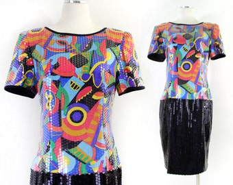 Vintage 80s Abstract Print Silk Sequined Women's Dress - Colorful Short Sleeve Knee Length Silk Party Dress - Size 10 Medium