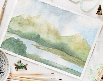 Mountains in the fog_original watercolor_watercolor art_landscape painting_wall art decor_sage green blue watercolor_foggy mountains