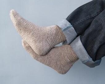 Hand Knitted Wool men Socks milky beige brown rustic alpaca - made to order