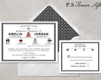 Printable Wedding Invitation and RSVP, Timeline Invitation, Modern Wedding Invite, Black and Red, Wedding Printable, DIY Printable