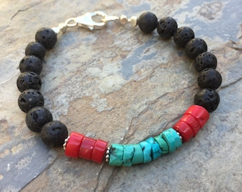 Mens Bracelet, Lava Bracelet, Turquoise, Lava and Coral Bracelet, choose your size.