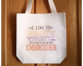 Gold Copper Embroidered Canvas Tote Bag - Witty Kawaii Cute Gift Shopping Bag For Life, Metallic ,Sewing Embroidery Cross Stitch Bag 2986