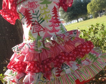 Made to Order Custom Boutique Yule Trees Christmas Dress Girl Sizes 2 3 4 5 6 7 or 8