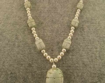 Egyptian Beetle Scarab Pearl Necklace  Set  20% Off