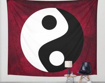 Yin and Yang Tapestry, Zen Tapestry, Rich Red, Dorm, Office,Chinese Tapestry, Buddhism Large Wall Decor, Buddhist Symbol Tapestry, Symbolism