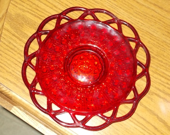 Vintage Ruby Red Glass Lattice Lace Edge Plate
