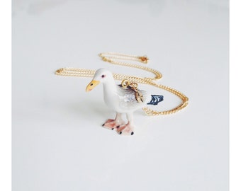 Porcelain Seagull Necklace
