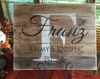 Personalized Wedding Gift, bridal shower gift, Custom Wood Name Sign, Pallet Last Name Sign, Rustic Family Est. Sign, Distressed Name Sign,