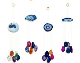 Blue Agate Wind Chime - Assorted Color Agate Slice Wind Chime - Home Decor - Spiritual Gift - Crystal Collection (OB1B2)