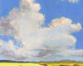 Cumulus Clouds - Original Landscape Painting on Canvas Oak Trees Fields Hills California 8x8