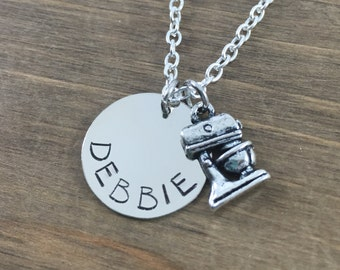 Personalized Baker's Necklace - Handstamped Mixer Name Necklace - Chef Necklace - Baker's Necklace - Cooks Necklace