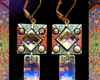 Unique Earrings- Swarovski Crystals, Hand painted