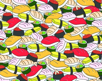 I Love Sushi 11x17 illustrated food poster - FREE shipping for US orders!